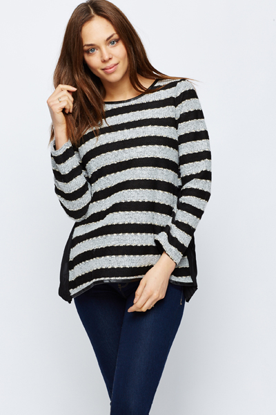 Cut Out Back Contrast Stripe Pullover