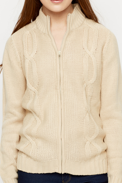 High Neck Cable Knit Rip Cardigan