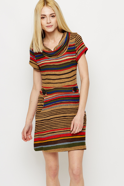 Stripe Fleece Tunic Dress