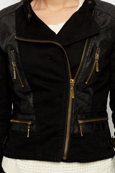 Faux Leather Insert Panel Jacket