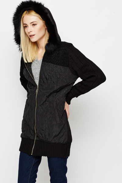 Knitted Sleeves & Back Hooded Jacket