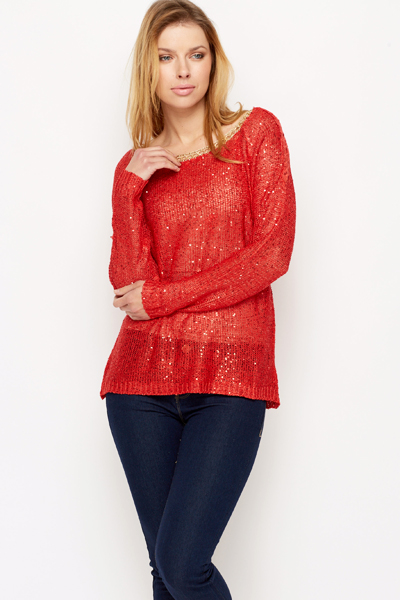 Chain Trim Sequin Knit Pullover