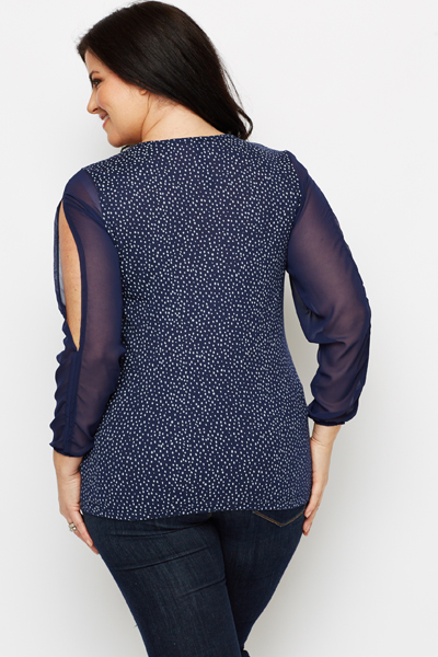 Contrast Spotted Blouse