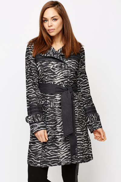 Embroidered Trim Animal Print Coat