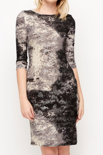 Metallic Smudge Print Midi Dress