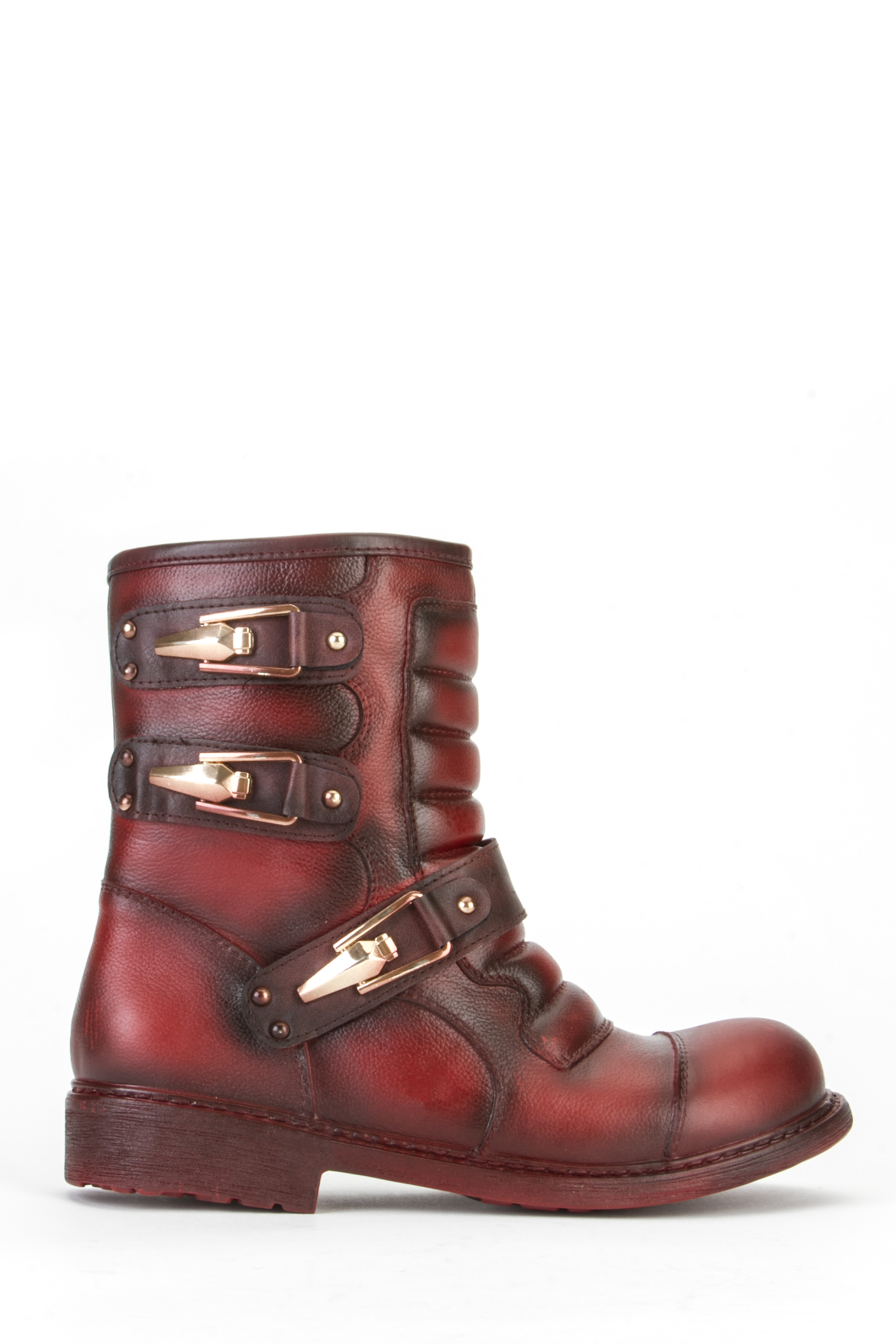 Quilted Buckle Trim Biker Boots
