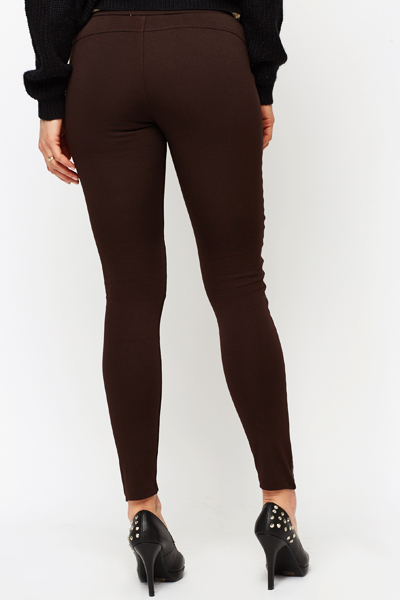 Quilted Faux Leather Panel Leggings