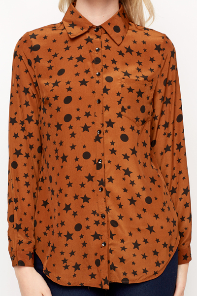 Star Circle Print Blouse