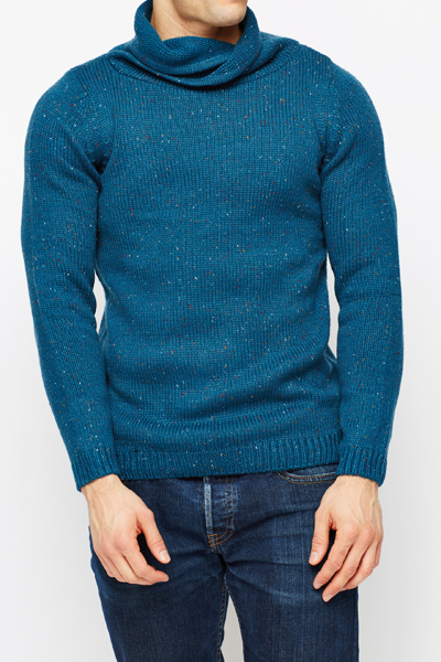 Dark Blue Cowl Neck Jumper
