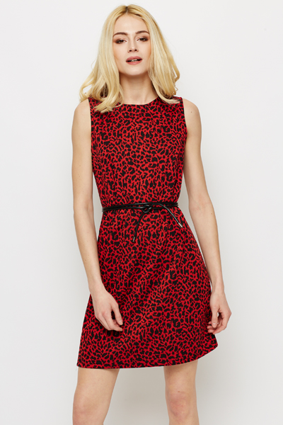 Leopard Print Belted Dress