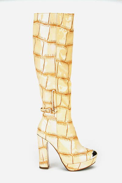 Mock Croc Knee High Boots