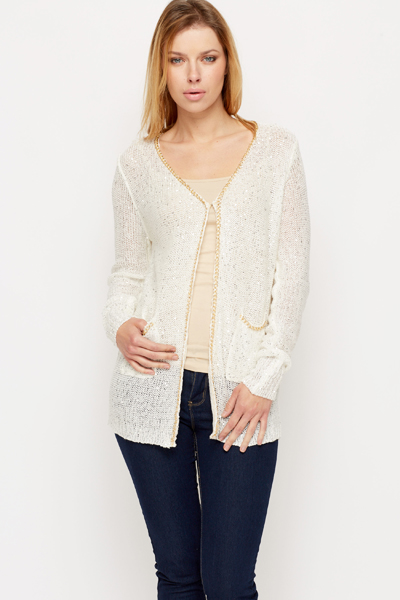 Chain Trim Sequin Knit Cardigan