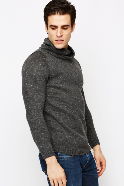 Cowl Neck Knitted Dark Grey Pullover