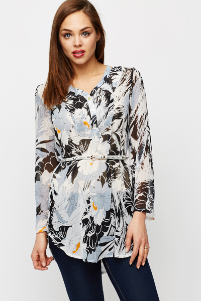Studded Graphic Print Belted Tunic