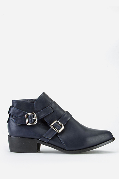 Twin Buckle Side Ankle Boots