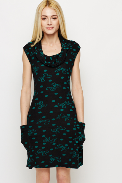 Bow & Polka Dot Print Fleece Dress