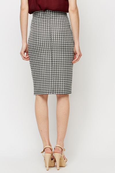 Dog Tooth Bodycon Skirt