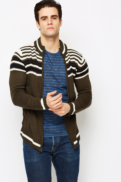 Stripe Top Zipped Front Cardigan