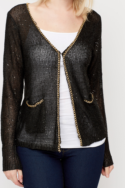 Chain Trim Sequin Knit Open Front Cardigan