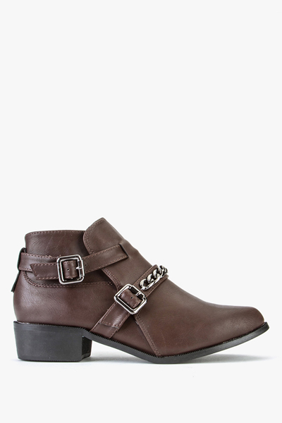 Chained Side Buckle Ankle Boot