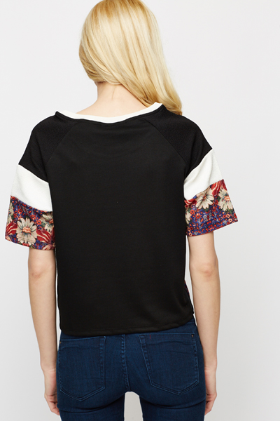 Floral Mono Stripe Sleeve Top