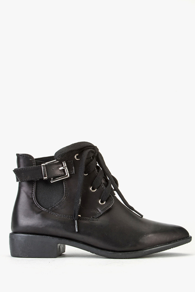 Laced Buckle Ankle Boots