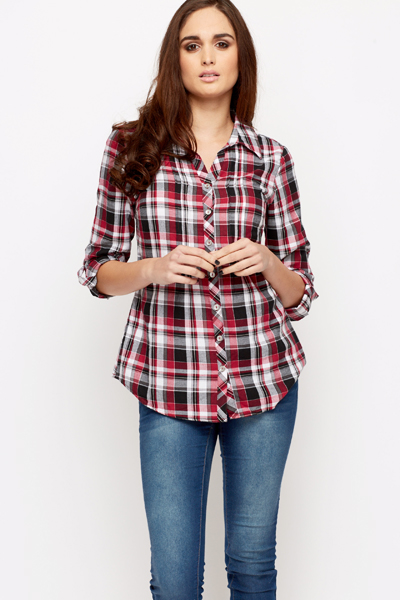 Low Cut Checked Shirt