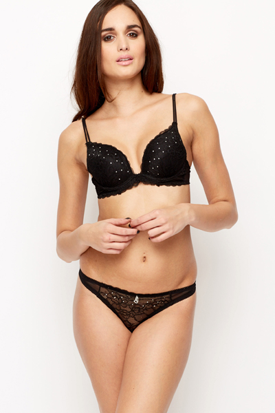 Push Up Diamante Encrusted Bra & Thong Set