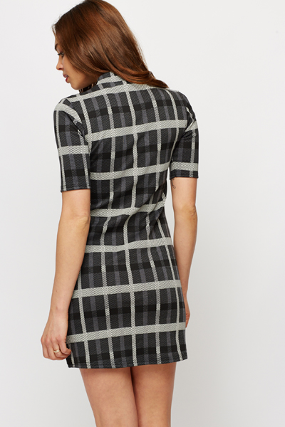 Checked Pull Over Shift Dress