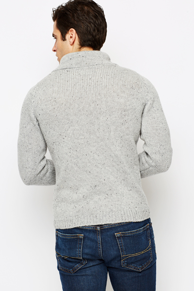 Cowl Neck Knitted Grey Pullover
