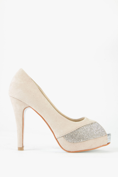 Diamante Suedette Open Toe Heels