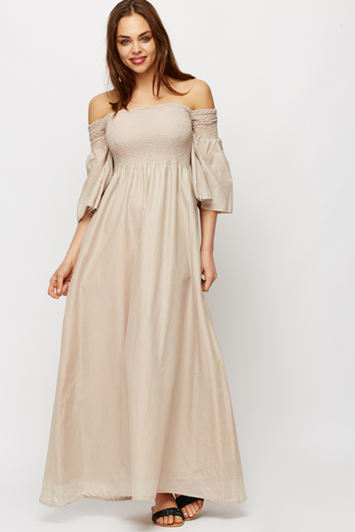 Sheered Top Off Shoulders Maxi Dress