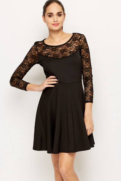 Black Lace Insert Skater Dress - Just £5