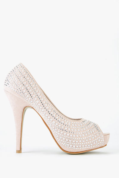 Diamante Open Toe Suedette Heels