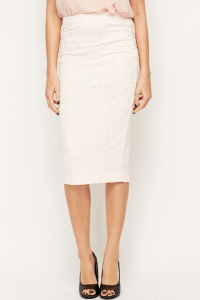 Lace Detail Pencil Skirt