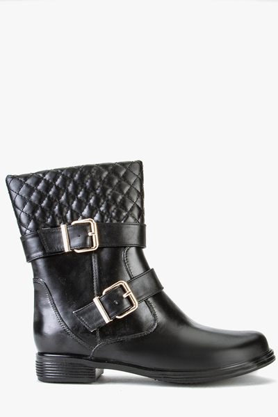 Quilted Top Buckled Boots