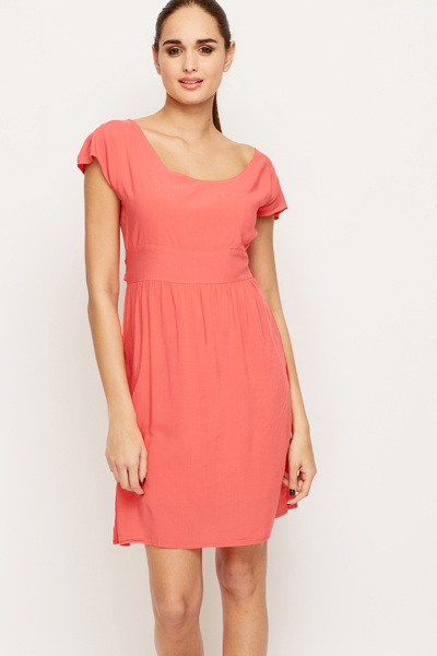 Bow Back Cotton Blend Dress