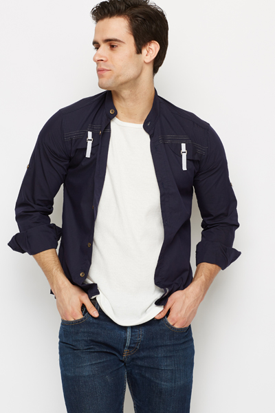Contrast Buckle Detail Shirt