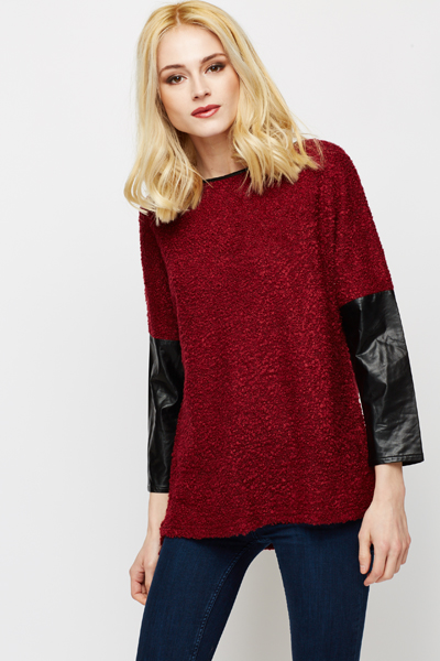 Contrast PU Sleeve Top