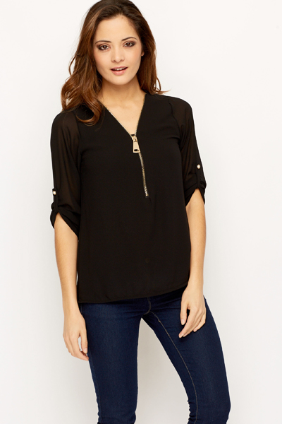 Zipper Sheer Blouse