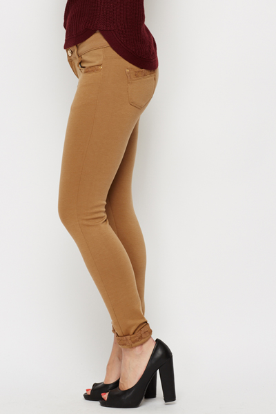 Brown Lace Trim Jeggings