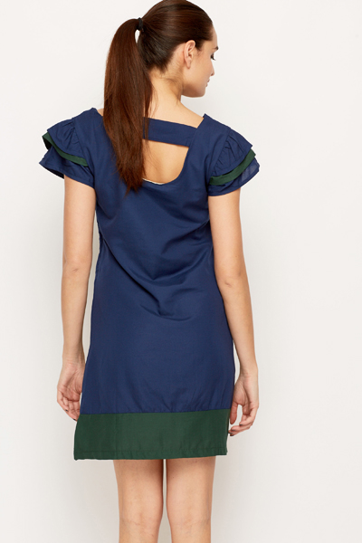 Colour Block Trim Shift Dress