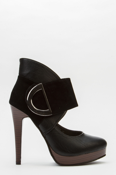 Contrast Faux Leather Heels