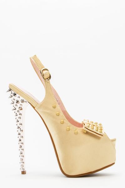 Studded Trim Slingback Heels