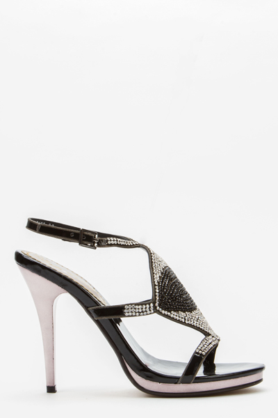 Diamante Encrusted Stripe Sandals