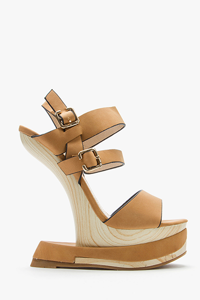 Curved Wedge Strappy Sandals