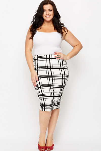 Felt Mono Check Pencil Skirt