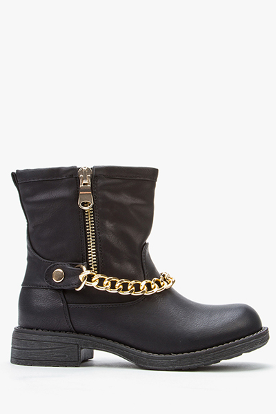 PU Leather Chained Ankle Boots