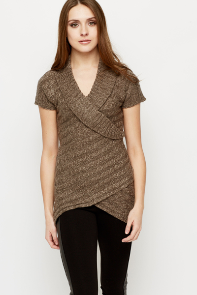 Speckle Knit Shawl Collar Jumper