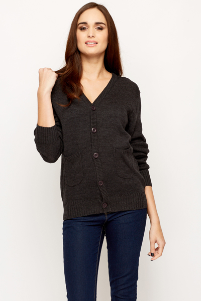 V-Neck Knitted Button Up Cardigan